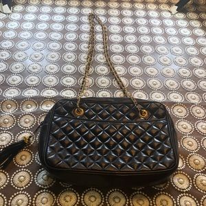 Koret Black Genuine Leather Quilted Shoulder Bag